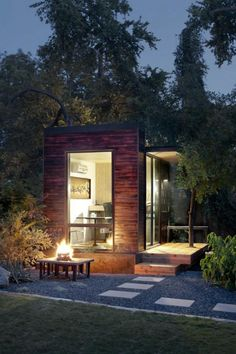 Prefab Wooden House Design Studio designed by Sett. Here you can see, Prefab House with contemporary design in minimalist wooden structure, presenting a comfortable Backyard Office, Backyard Studio, Garden Studio, Outdoor Office, Garden Office, Backyard Retreat, Modern Backyard, Outdoor Living, Little Houses
