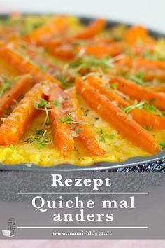 Quiche mal anders – und zwar mit Polenta und Möhren zubereitet. Geht ganz fix und schmeckt der ganzen Familie …