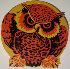 """1940's Made In USA 'Owl' Die Cut Decoration. Size: 5"""""""