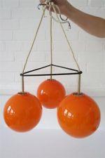 Vintage Orange Danish Holmegaard Glass Ceiling Light Lamp Mid Century Modernist