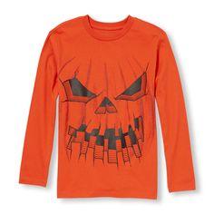 s Boys Long Sleeve Halloween Pumpkin Graphic Tee - Orange T-Shirt - The Children's Place