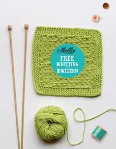 Mollie Makes free knitting pattern - knitted washcloth pinterest