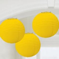 Yellow Paper Party Lanterns (Set of 3 - 9.5 Inches each)