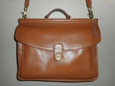 "HUGE VINTAGE Coach Brown Leather 15.5"" X 11"" X 3.5"" Briefcase/Computer Bag USA 0760-325 by COACHCROSSING on Etsy"