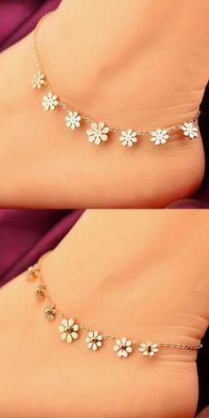 18K GP Gold Plated Titanium Steel Round Crystal Ankle Bracelet Chain USPS