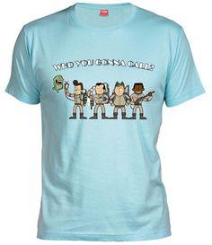 Camiseta who you gonna call, Camisetas Cazafantasmas, Camisetas Cine, Fanisetas, Camiseta con los cazafasmas caricaturizados estilo retro por Fernando Sala.