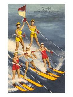 Cypress Gardens, Florida Vintage Postcard - Pyramid of Aqua Skiers, vintage swimsuits We used to go to Cypress Gardens with my grandparents. Old Florida, Vintage Florida, Florida Travel, Stuart Florida, Florida Girl, Visit Florida, Florida Usa, Beach Travel, South Florida