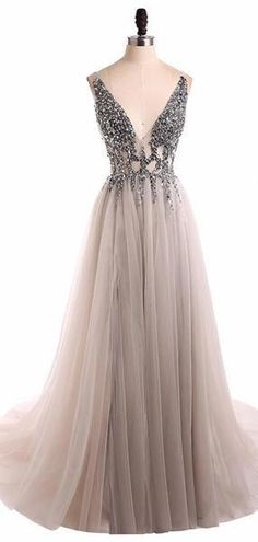 Grey V Neck See Through Beaded Long Evening Prom Dresses, Cheap Sweet 16 Dresses, 18351 Elegant Prom Dresses, Prom Dresses With Sleeves, Cheap Prom Dresses, Prom Party Dresses, Modest Dresses, Homecoming Dresses, Formal Dresses, Ladies Dresses, Long Dresses