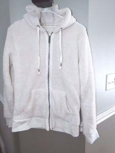Roxy Zip-up Hoodie,sweatshirt  Ivory with leather logo, EUC, womens size M #Patagonia #Hoodie