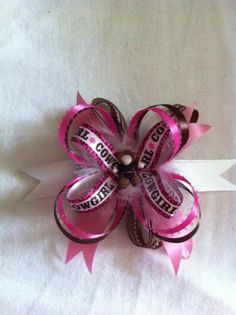 Pink Cow Girl Hair Bow  www.facebook.com/BoopdeboopCreations