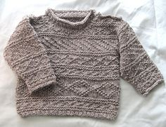 """I designed this toddler's fisherman's sweater to use traditional stitch patterns from Orkney, Scotland (based on Elizabeth Lovick's book Patterns for North Ronaldsay Yarn) and yarn from a local primitive breed sheep on the island of Papa Westray (""""Holmie 'oo'""""), which is only available on the island. I have suggested similar weight yarns for you to use, such as 4 (50g) balls of Rowan Scottish Tweed DK, or 5 (50g) balls of Debbie Bliss Luxury Tweed Aran. My gauge fits the pattern chart with…"""