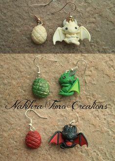 Daenerys's Dragons Earrings Polymer Clay