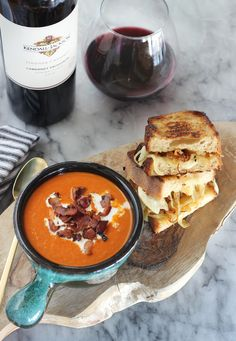 Roasted Garlic and Caramelized Onion Grilled Cheese with Creamy Tomato Soup #Recipe