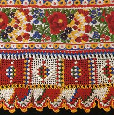 this would look great for a pillow edging or lantern edge (Hungarian lace crochet on shirtsleeve) Hungarian Embroidery, Folk Embroidery, Learn Embroidery, Embroidery Patterns, Crochet Patterns, Crochet Towel, Crochet Lace Edging, Crochet Yarn, Hand Crochet