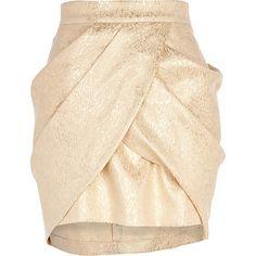 Gold draped tulip mini skirt - mini skirts - skirts - women