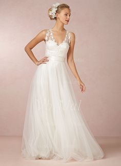 Wedding Dresses - $139.15 - A-Line/Princess V-neck Sweep Train Tulle Wedding Dress With Lace Sash (0025055900)