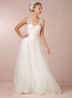 A-Linie/Princess-Linie V-Ausschnitt Sweep/Pinsel zug Tüll Brautkleid mit Spitze Schleifenbänder/Stoffgürtel (0025055900) - vbridal