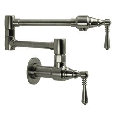 Pamper the chef in your family with this traditional kitchen pot filler faucet from Fontaine. Pot filler faucets allow you to fill large pots and kettles directly on the stove, decreasing the need to carry them across the kitchen.