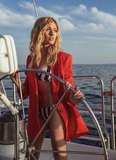 At the helm of a sailboat yacht enjoying the seabreeze and the open ocean. Katherine Mcnamara, Kat Mcnamara, Clary Fray, Sugar Baby, Blonde Actresses, Actors & Actresses, Cassandra Clare, Sexy Bikini, Bikini Girls