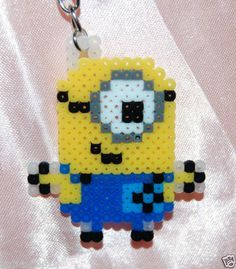 Despicable Me 2 Minion Keyring Charm Perler Beads by katieshop10