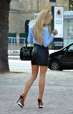 Leather mini black skirt and high heels - #outfit #fall13 #fashionblogger