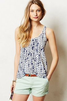 great print knit tank to half tuck with shorts, capris, and to tuck into full skirts- antropologie