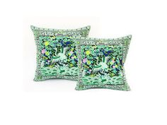 Set Of 2 Green Cushion Cover Pillow Case With Hill Tribe Fabric Handmade