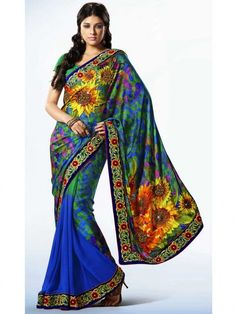 Blue Color Digital floral Print with Embroidery work Saree  #Saree