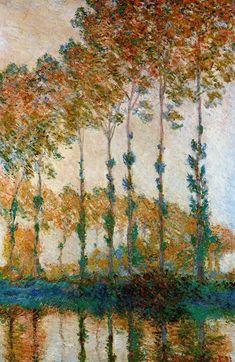 Poplars on the Banks of the Epte, Autumn, 1891, Claude Monet Size: 66x101 cm Medium: oil on canvas