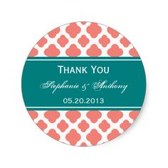 Coral Pink Quatrefoil Pattern with Teal Sticker