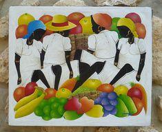 "Haitian Market Women in White - Canvas Painting - Art of Haiti - Primative Caribbean Art, Canvas Painting - Haitian Art - 20"" x 24"" -   by TropicAccents"