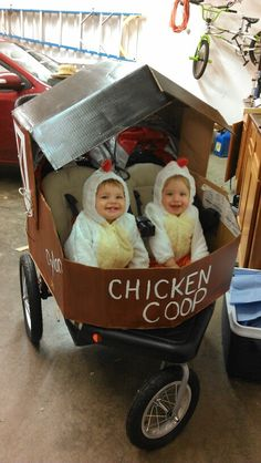 Stroller costume: chicken coop with twin chickens