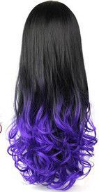 28'' 280g Women's 3/4 Full Head Ombre Synthetic Long Wavy Wig, Curl Heat Resistant Synthetic