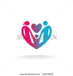 Classical family of three people in a heart shape logo. Parental care and love sign.
