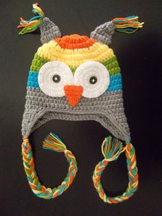 Owl Knit Hat Grey, Blue, Green, Yellow, and Orange Boys