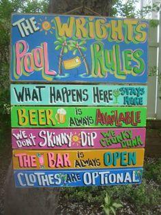 Tropical Welcome Paradise Lake Pool House Rules Patio Beach Cabana Hot Tub Tiki Bar Hut Parrothead Wood Sign Plaque Pool Rules Sign, Beach Rules, Pool Signs, Beach Signs, Lake Signs, Tiki Bar Signs, Beach Cabana, Pool Cabana, Palm Beach