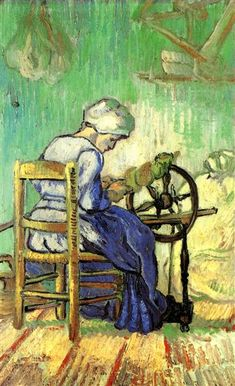 The Spinner (after Millet), 1889 by Vincent van Gogh. Post-Impressionism. genre painting. Private Collection