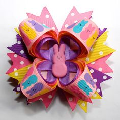 """4"""" Easter Peeps Bunny Purple Yellow Hot Pink Stacked Hair Bow"""