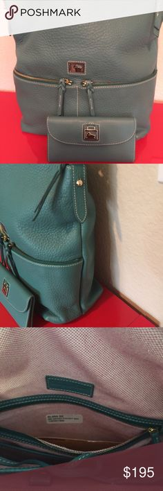 Extra large Dooney leather with wallet Dillon Cute cute like big bags  6L954SE Color Teal adjustable shoulder strap  Excellent condition  With matching wallet 2nd picture true color Aqua 15x 14 x 5 Dooney & Bourke Bags Shoulder Bags