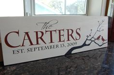 Hand Painted Family Name Sign / Personalized Wood Plaque - Perfect Wedding or Engagement Gift Idea - ETS-21