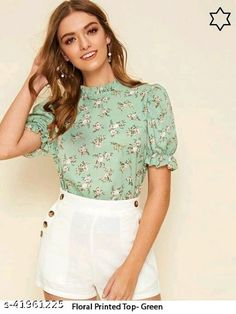 Half Sleeves, Types Of Sleeves, Latest Tops, Stylish Tops, Types Of Dresses, Green Tops, Ruffle Trim, Tunic Tops, Fashion Outfits