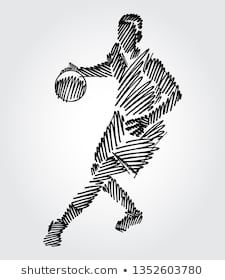 Basketball player with ball in hand looking away. Simple drawing with black outlines in sketch-shape on light background.