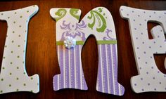 Custom, Hand Painted Wooden Letters, Lilac and Green Damask