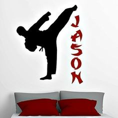 Martial Arts Decor. Your favorite athlete will be amazed to find his room transformed with one of these personalized karate decals! This decal includes the player silhouette and your child's name. This vinyl wall decal can be altered to any size, but I do offer four different standard sizes. You may see the available sizes by using the drop down menu to the right of this description. No matter what size you choose, each of these pieces kids room decor is made using only the highest…