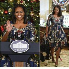 #CelebrateBlackWomen: #MichelleObama looked beautiful at the kick off of The Obamas' final White House holiday season on Tuesday. #UrbansVintage