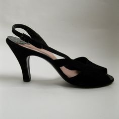 Vintage 1950s Suede Shoes  Black Peep Toe  I Miller by AlexSandras, $125.00