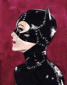 4aba2f3488b6 Catwoman Selina Kyle Art Print Watercolor Painting Wall Decor Cat Mask  Halloween Costume Batman Returns Gotham Comic Canvas Gift for Him