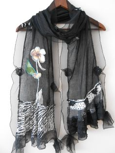 Special design was produced using cotton fabric patchwork technique. Diy Scarf, Lace Scarf, Sewing Scarves, Altered Couture, Clothing And Textile, Sewing A Button, Scarf Styles, Refashion, Womens Scarves