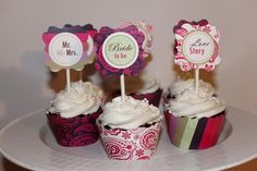 wedding shower cupcakes tags | Cool Cupcake Designs Wc designs: free bridal shower