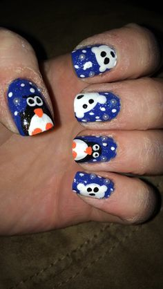 Penguin and polar bear nail art